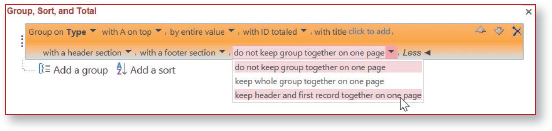 Expanded Group, Sort, and Total pane with pointer on desired option in drop-down list.